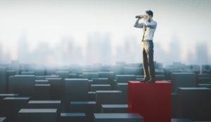 Illustration of gentleman in tie surveying urban horizon with spyglass